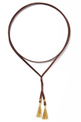 Leather wrap tassel necklace