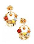 3d Floral Hoop Earrings Photo