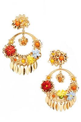 3D floral hoop earrings