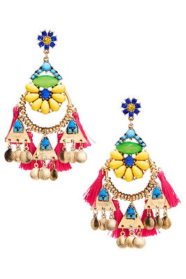 bright floral tassel earrings