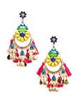 Bright Floral Tassel Earrings Photo