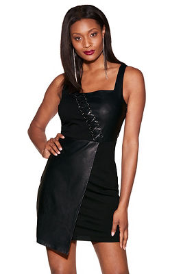Vegan leather lace-up dress
