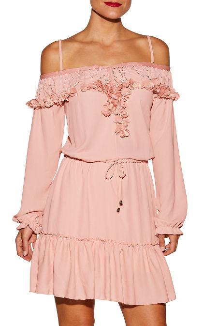 3D floral cold shoulder embellished dress image