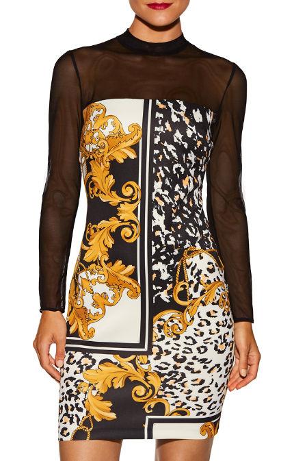 Animal scroll and mesh dress