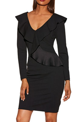 V-neck long sleeve ruffle dress