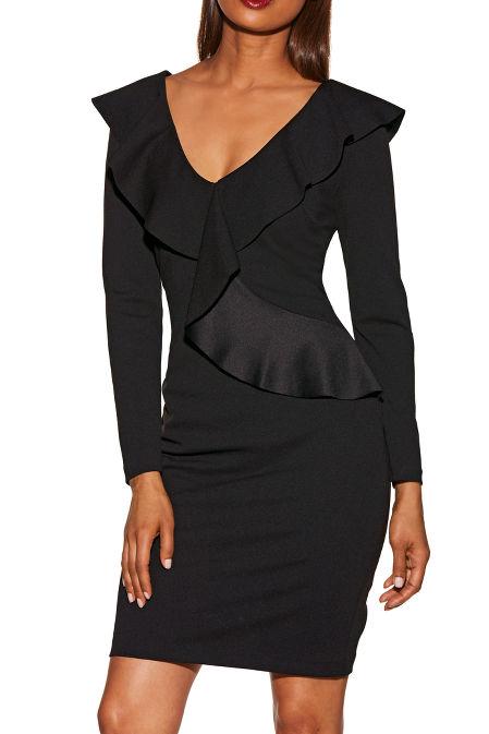 V-neck long sleeve ruffle dress image