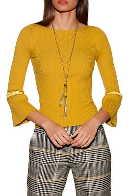 Beaded Bell Sleeve Ribbed Sweater