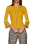 Beaded Bell Sleeve Ribbed Sweater Photo