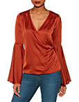 Bell Sleeve Surplice Charm Blouse Photo