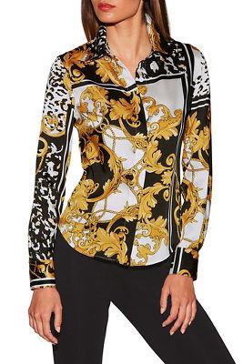 Button-down print shirt