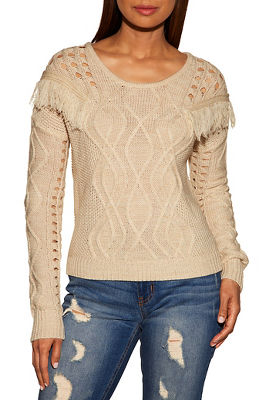 Cable detail fringe sweater