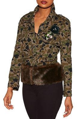 Camo embellished faux-fur jacket