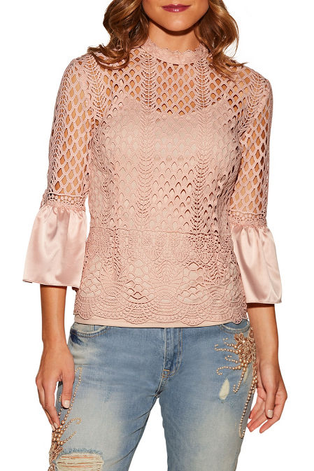 Charm flare sleeve lace top image