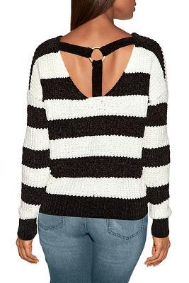 Chenille ring detail stripe sweater