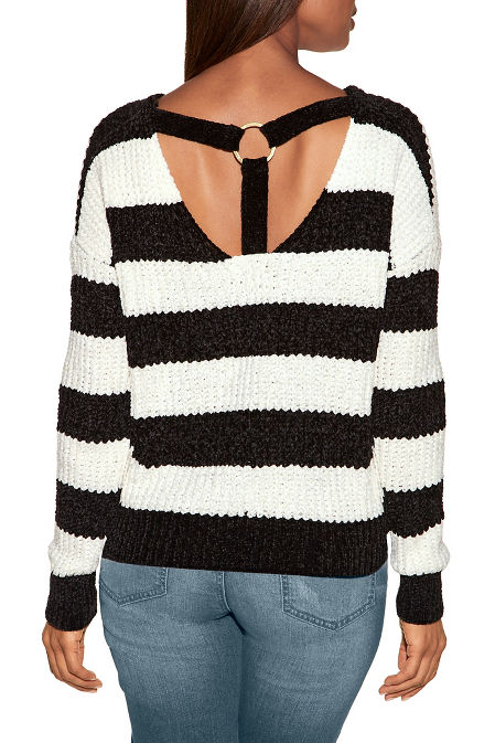 Chenille ring detail stripe sweater image
