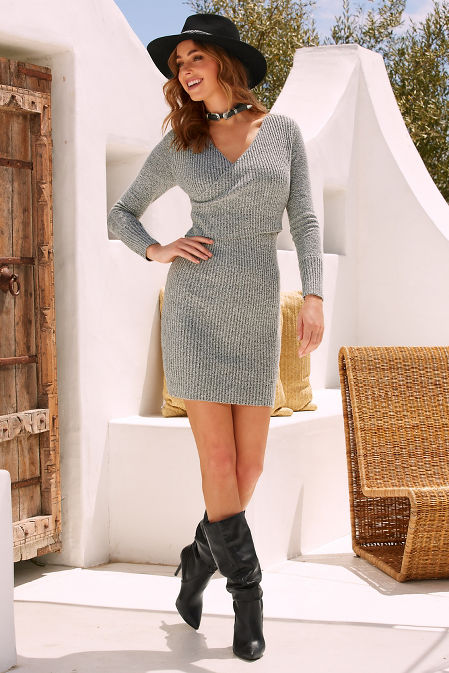 Crossover sweater dress image