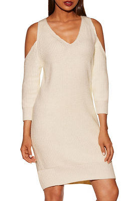 cold shoulder chunky sweater dress