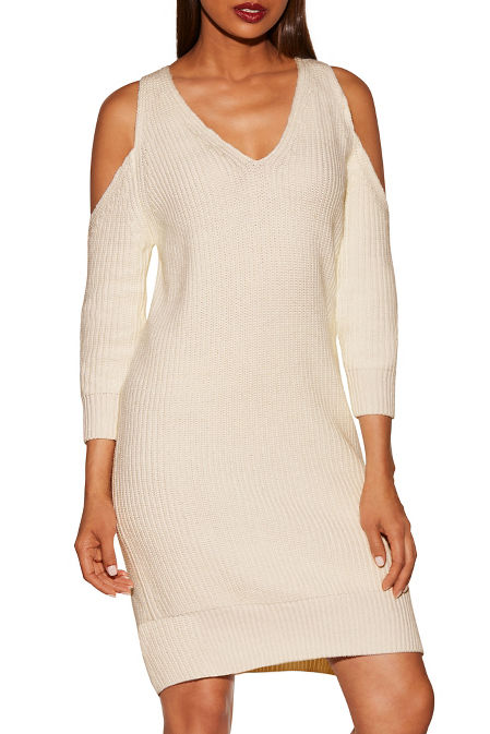 Cold shoulder chunky sweater dress image