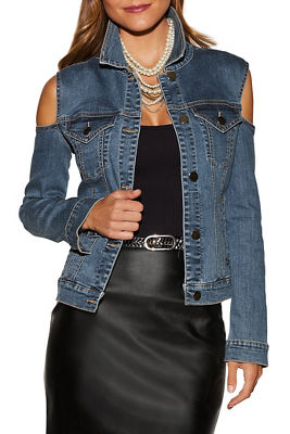 Display product reviews for Cold shoulder denim jacket
