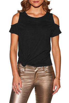 Cold shoulder knot front slub tee