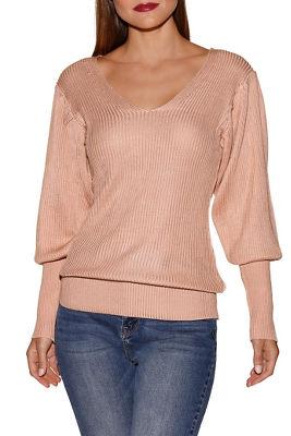 Deep v blouson sleeve sweater