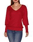 Deep V Blouson Sleeve Sweater Photo