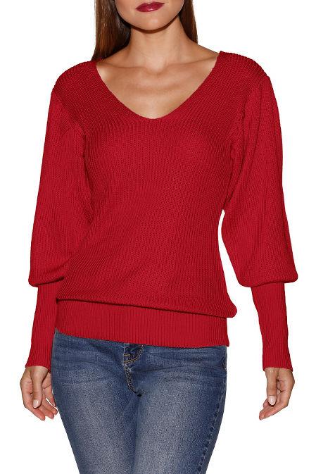 Deep v blouson sleeve sweater image