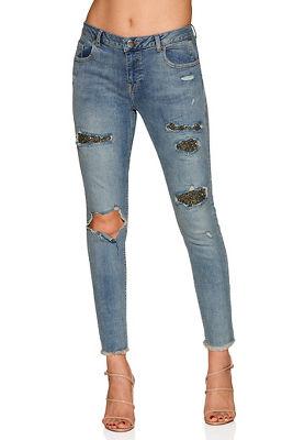 Embellished slim ankle jean