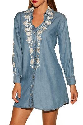 Embellished denim shirtdress