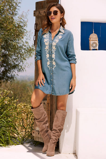 Embellished denim shirtdress image