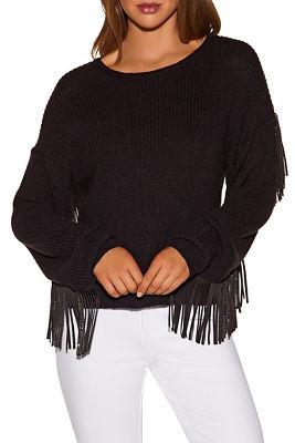 Embellished fringe sleeve sweater