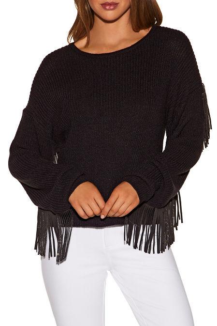 Embellished fringe sleeve sweater image