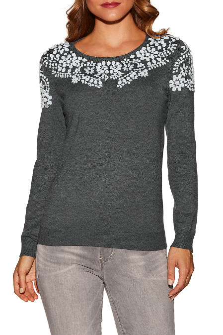 Embellished neck long sleeve sweater image