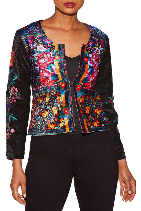 Embroidered velvet flower jacket image