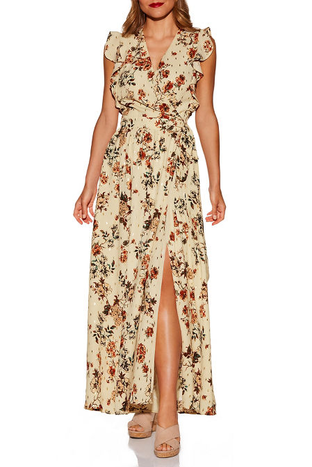 Floral and gold wrap maxi dress image