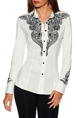 Display product reviews for Floral embroidered collared top