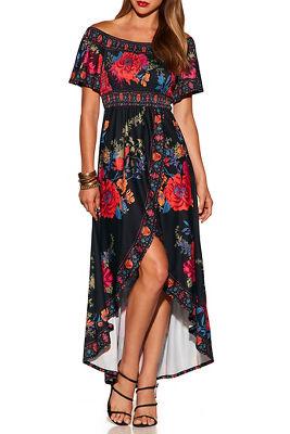 Floral smocked off-the-shoulder hi-lo dress
