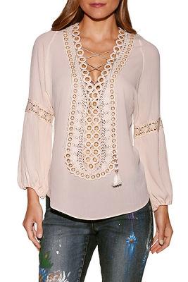 Grommet lace-up peasant blouse