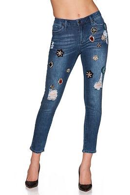 Jewel patch ankle jean