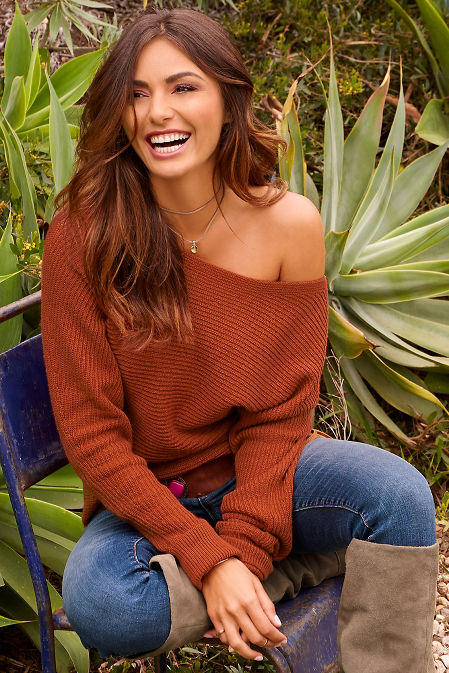 Boat neck slouchy sweater image