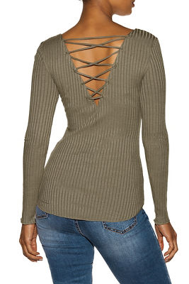 Lace-up back ribbed top