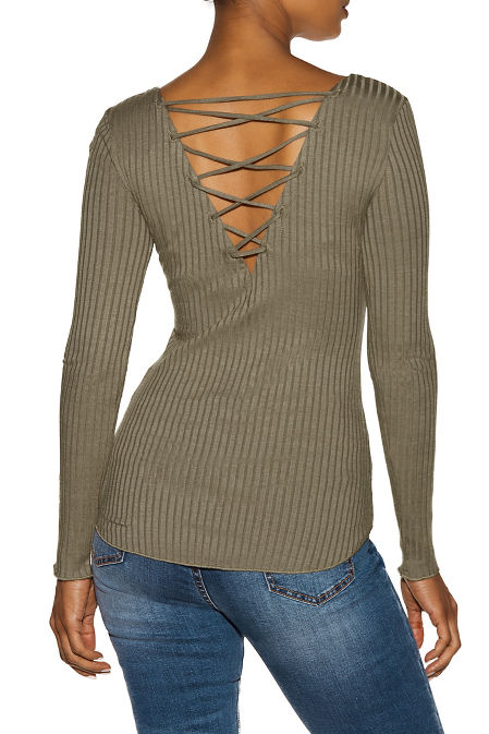 Lace-up back ribbed top image