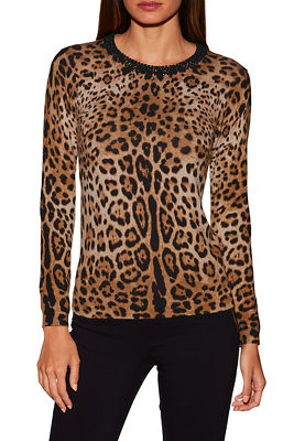 Leopard print jeweled sweater