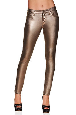 Metallic coated skinny jean