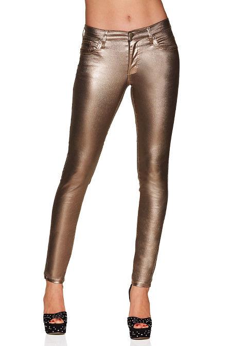 Metallic coated skinny jean image