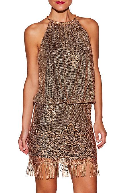 Metallic fringe blouson dress image