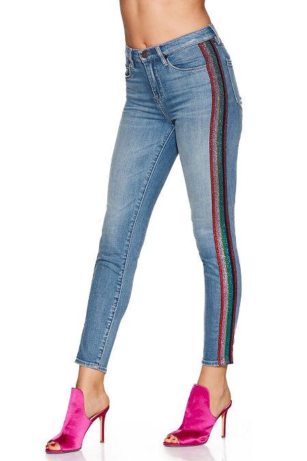 Multicolor side stripe skinny jean image