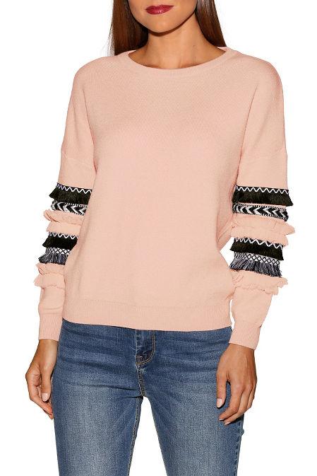 Novelty trim detail sweater image