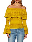 Off-the-shoulder Lace Bell Sleeve Top Photo