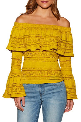 Off-the-shoulder lace bell sleeve top